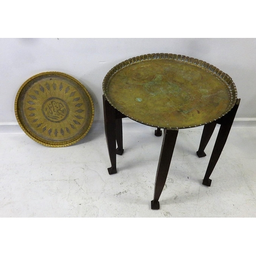42 - 2 Brass Circular Table Top Trays & 1 Folding Base on club footed supports (3)...