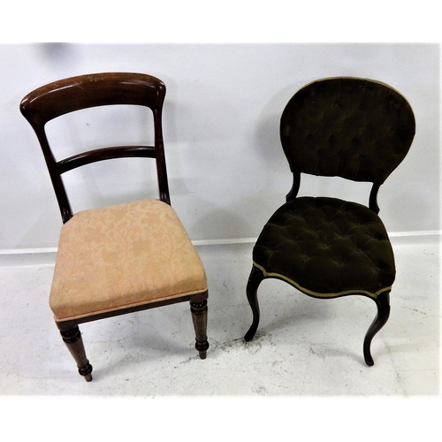 45 - Victorian Side Chair with deep buttoned serpentine fronted seat, uholstered in green Draylon, on cab...