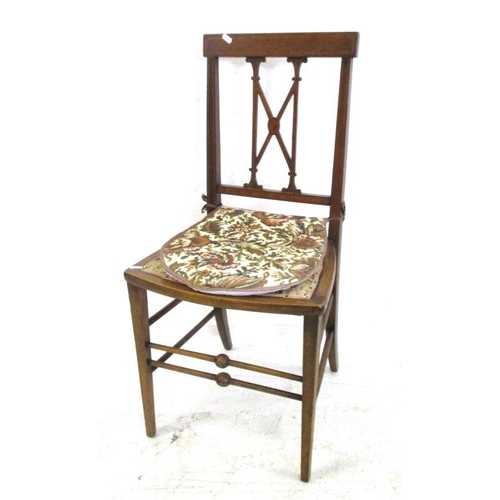 14A - Edwardian Mahogany Side Chair with cross banded top, boxwood strung, X-shaped centre bar, turned str...