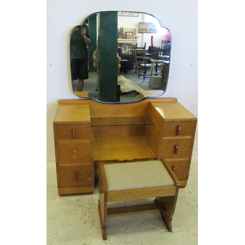 4A - Birds Eye Maple Art Deco Dressing Table with 2 small raised drawers, glass shelf, 2 deep drawers wit...