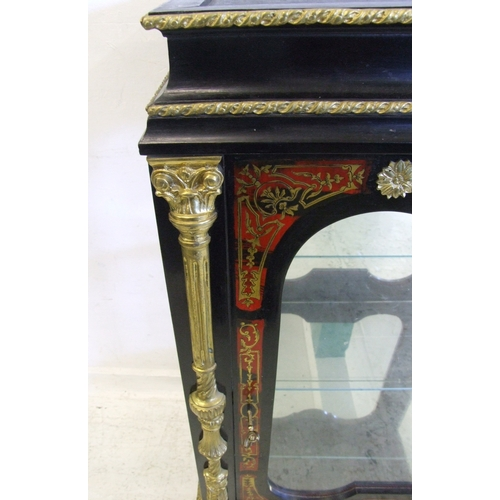 11 - C19th Style Scarlet Boulle & Ebonised Side Cabinet on moulded bracket style supports with extensive ...