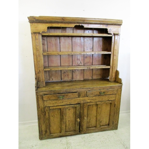 23 - Rustic Antique Pine Dresser, lower section with twin panelled doors, 2 frieze drawers with brass han...