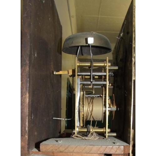150 - Brass Faced Oak 8-Day Longcase Clock on plinth base, trunk with quadrant fluted pillars, ebony & box...