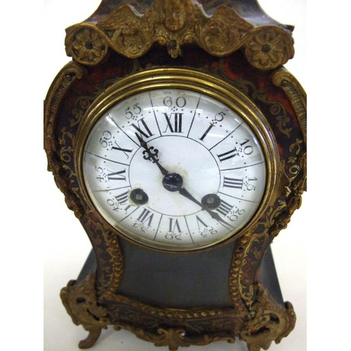 154 - C19th Scarlet Boulle Mantel Clock by Vincenti, part glazed door, visible sunburst pendulum, striking...