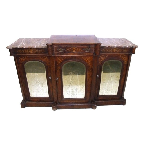 6 - Late Victorian/Edwardian Break Front Walnut Credenza on plinth base with rounded corners, pair bevel...
