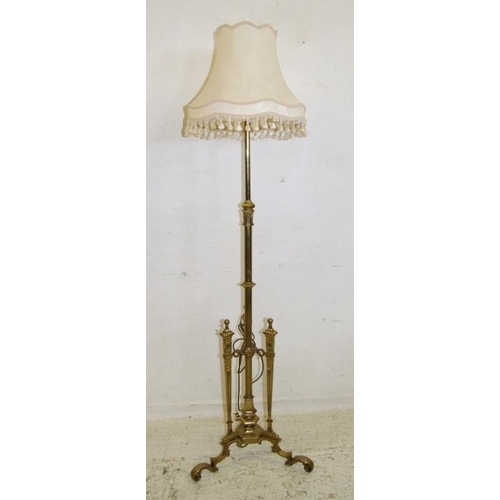 29 - Heavy Quality C19th Brass Rise & Fall Standard Lamp on triangular tapering supports with c-scroll fe...