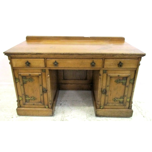 27 - Victorian Stained Ash Dressing Chest with pair lockers on plinth base, heavy brass mounts, 2 short &...
