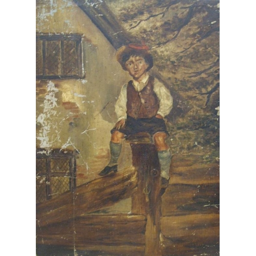 183 - C19th Unframed Oil on Wood Panel Young Boy sitting on gate stump by period building with leaded ligh...