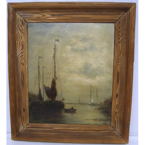 184 - C19th Dutch Oil on Board Tall Masted Barge with attendant boat, signed Lysell, in Douglas fir pine f...