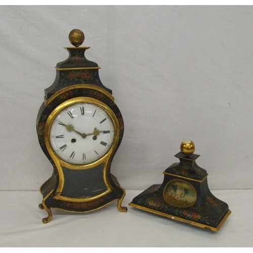 155 - C18th Continental Black Lacquer & Gilt Bracket Clock, lyre shape with glass panel, white enamelled d...