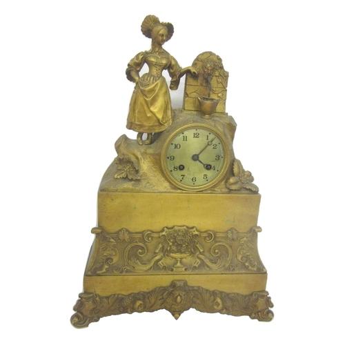 156 - C19th Ormolu 2-Train Mantel Clock in gilt brass case with scrolling fruit & leaf border, tall plinth...