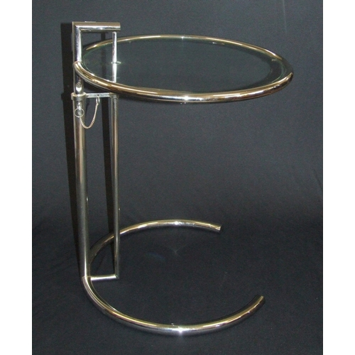 32 - Chrome Circular Eileen Gray Style Side Table with 3 quarter circle base with rise & fall plateau...