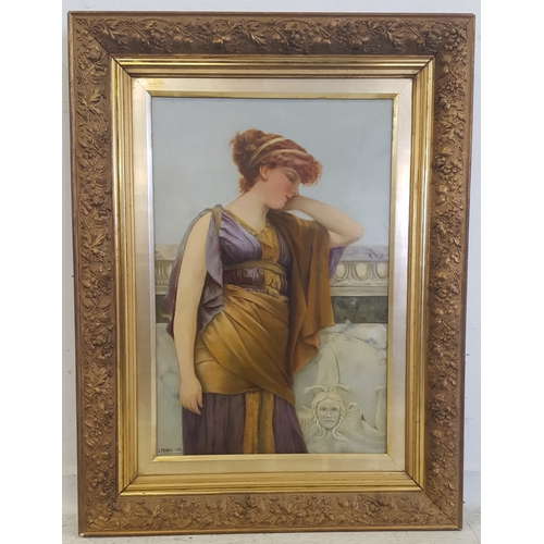 182 - Early C20th Oil on Canvas of a young lady in classical robes on a balcony with Medusa head carved ro...
