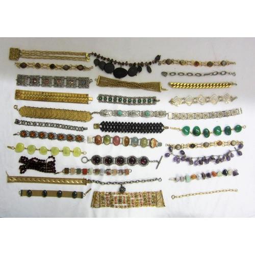 416 - Costume Jewellery Necklaces, bangles, bracelets, incl. some hardstone...