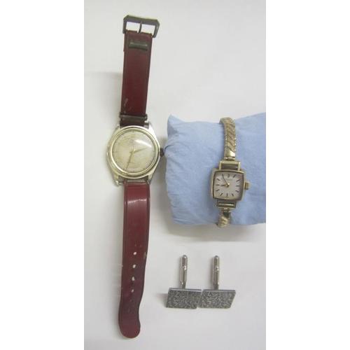 447 - Pair Cado Square Silver Tone Cufflinks, Aero 15 Jewel Antimagnetic Wristwatch & Ladies Square Faced ...