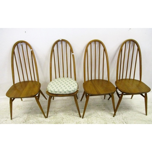 1 - Set of 4 Ercol Golden Harvest Stick Back Dining Chairs with elm seats, on circular tapering supports...