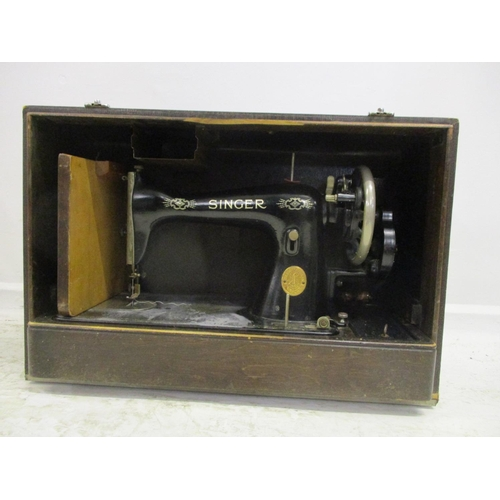 2 - Singer Hand Sewing Machine with black enamelled body, No. EC867511, in faux crocodile skin case...