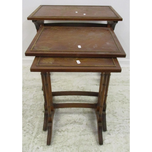 13 - Nest of 3 Yew Wood Rectangular Occasional Tables on turned supports...