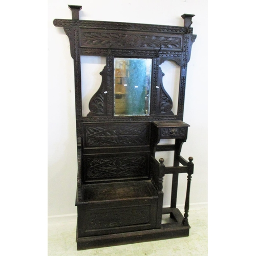 18 - C19th Carved Oak Hall Stand, lower section with storage compartment, hinged seat, stick stand (no dr...