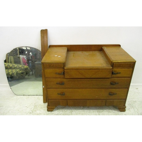 21 - Golden Oak Dressing Table with drop well, drawers & shaped mirror...