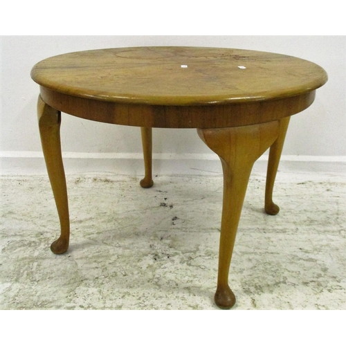 22 - Circular Walnut Coffee Table on cabriole pad footed supports...