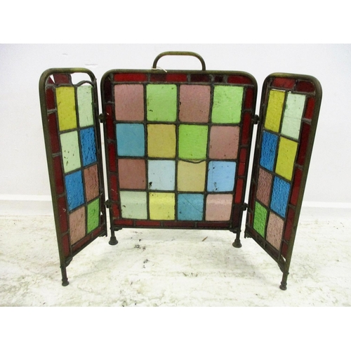 26 - 3 Fold Spark Guard with coloured leaded light glass approx. 79cm x 59cm...