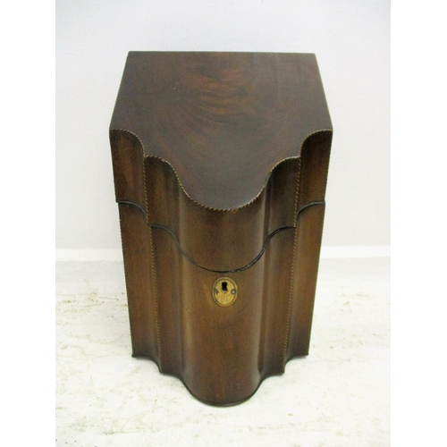 30 - C18th Mahogany Knife Box with boxwood & ebony inlay (no interior)...