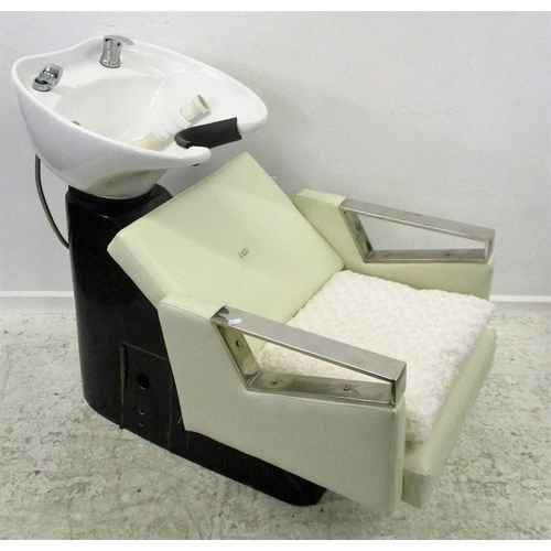 34 - Cream Leather Hairdressing Salon Reclining Chair with white ceramic basin & neck rest, shower spray ...