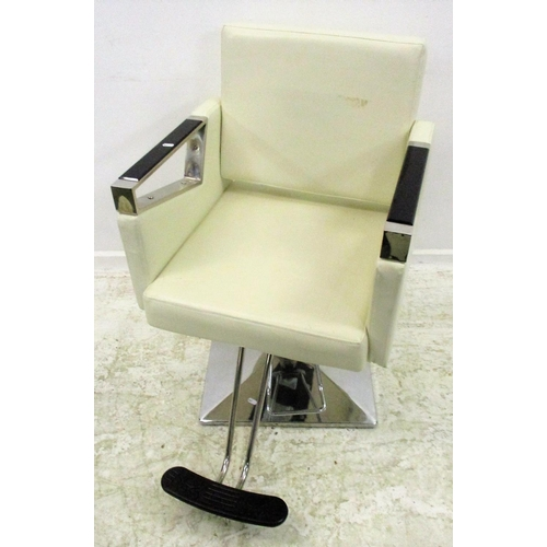 35 - Hairdressing Cream Leather & Stainless Steel Swivel Chair with footrest (MATCHING LOT 34)...