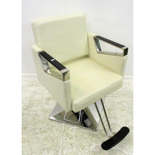 36 - Hairdressing Cream Leather & Stainless Steel Swivel Chair with footrest (MATCHING LOT 34 & 35)...
