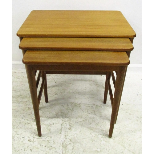 6 - Retro Nest of 3 Interlocking Teak Side Tables on circular tapering supports...