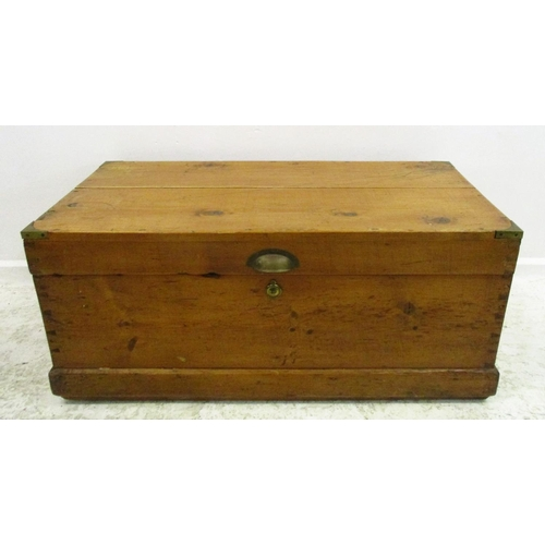 8 - Pine Storage Box with brass corners, cup handles, hinged top...