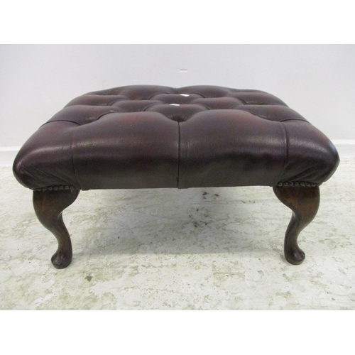 17 - Maroon Deep Buttoned Stool on cabriole supports (MATCHING LOT 11)...