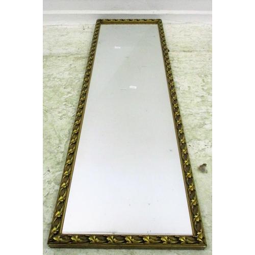 15A - Gilt Framed Rectangular Hall Mirror with scrolling leaf designed border...