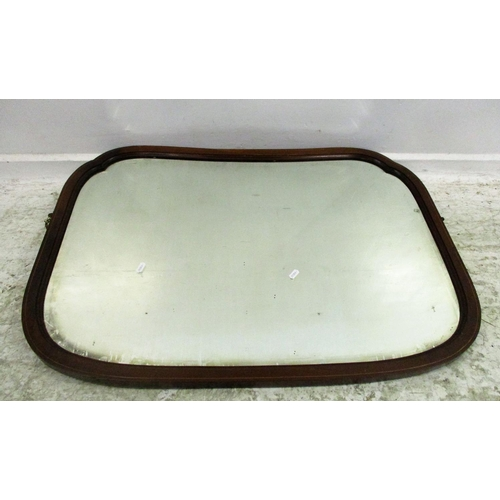 16A - Edwardian Mahogany Boxwood Strung Shaped Wall Mirror (From dressing table)...