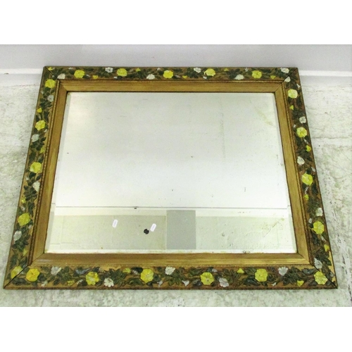 18A - Large Decorative Bevel Glass Wall Mirror, painted trailing flowers/leaves...