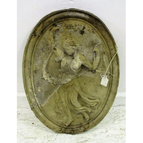 20A - Oval Pre-Cast Concrete Wall Plaque with classical dancing girl, approx. 18 1/2