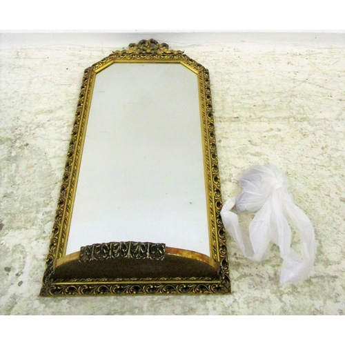 21A - Gilt Framed Hall Mirror with demi-lune shelf, ribbon & bow decoration...