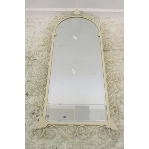 3A - Bevel Glass Domed Top retro mirror with scrolling cream painted frame...