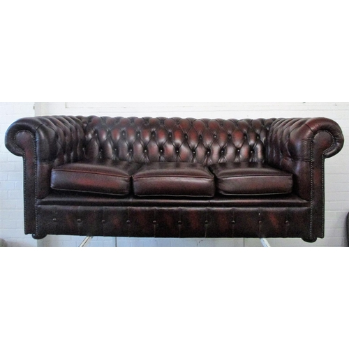 9 - Deep Maroon 3 Seater Leather Chesterfield Sofa...