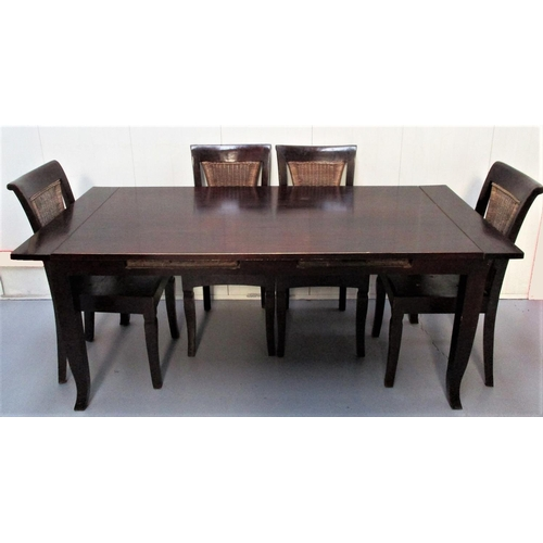 1 - Rectangular Topped Refectory Style Dining Table with 2 drawers to each side, on kicked out supports ...
