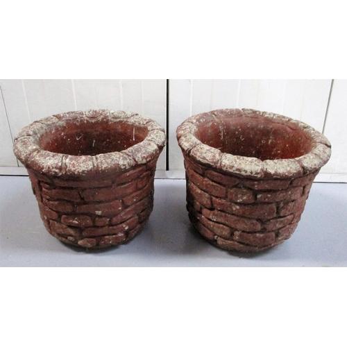 13 - Pair Painted Concrete Circular Brick Effect Planters (2)...