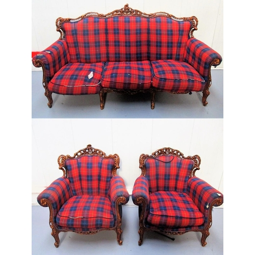 4 - Continental Style 3 piece suite, show wood frame, cabriole supports, tartan covers (2 Armchairs + 3 ...