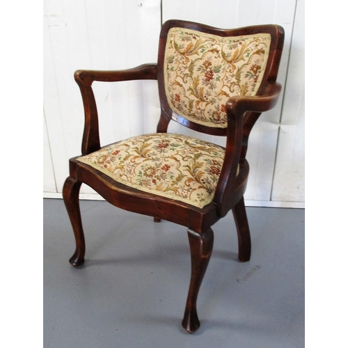 9 - Early C20th Armchair with open arms, show-wood frame, upholstered seat, on cabriole pad footed suppo...