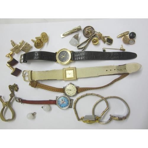 419 - Quartz & Other Wristwatches for spares or repairs, gents cufflinks, serviette clip etc....
