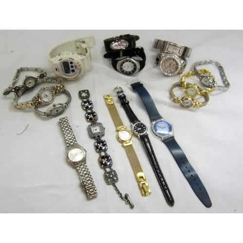408 - G-Shock Water Resist White Wristwatch, Gucci Marked Quartz Stainless Steel Wristwatch, Swatch AG 200...