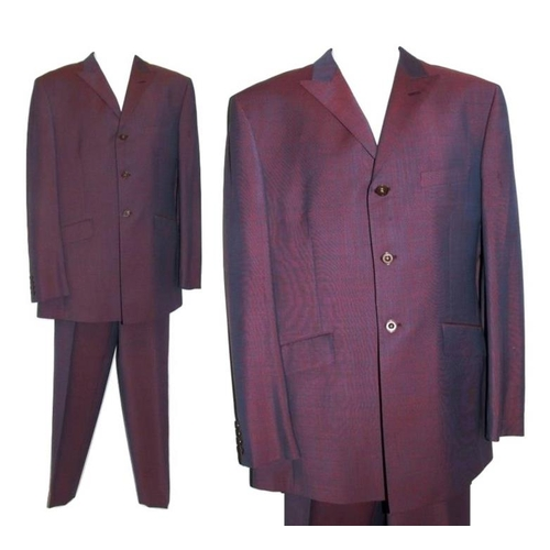 562 - *FROM THE WARDROBE OF JULIAN CLARY* Ozwald Boateng Bespoke Dark Red Tonic Fabric Suit, trousers wais...