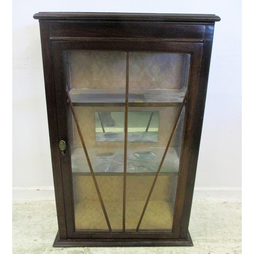 21 - Mahogany Display Case with sun-ray glazing bars, wooden shelves, no base...