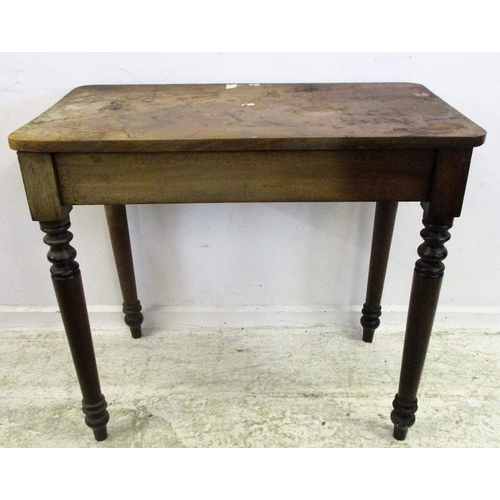 30 - C19th Mahogany Side Table on 4 turned supports...