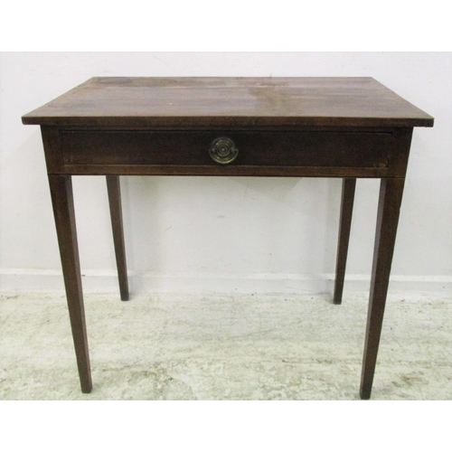 25 - C18th Mahogany Side Table with frieze drawer, brass handles, on square tapering supports...